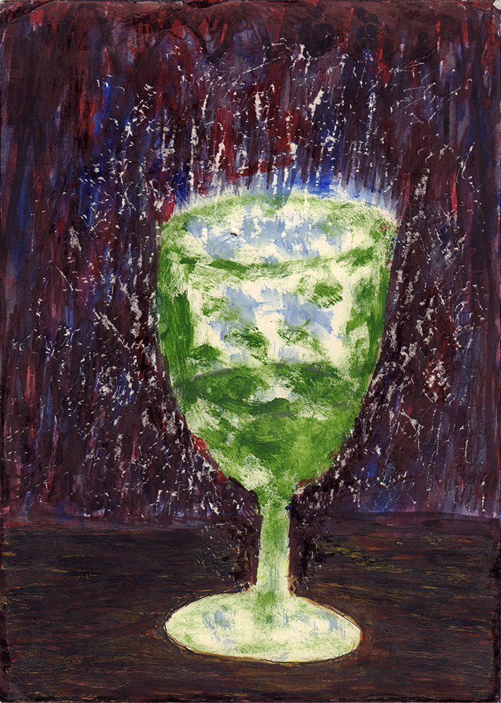 Konstriktor, B. [autograph]. A green wine glass. 1979