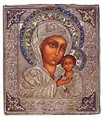 Russian icon Petrovskaya Mother of God with silver
