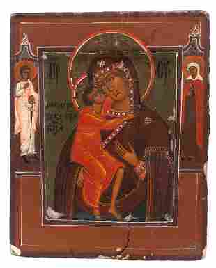 """Russian icon """"Mother of God Fedorovskaya"""". - 19th"""