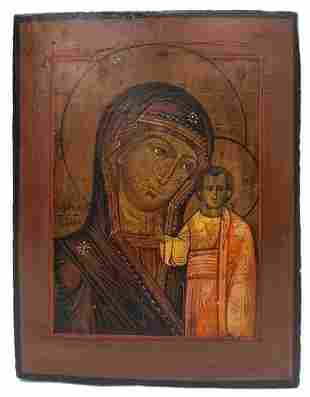 "Russian icon ""Mother of God Kazanskaya"". -19th century.;"