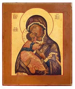 "Russian icon ""Vladimirskaya Mother of God"". - 19th"
