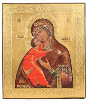 "Russian icon ""Mother of God Vladimirskaya"".  - 19th"