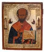 "Russian icon ""St. Nicholas Wonderworker"". - 19th"