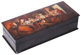 Russian papier mache lacquered box painted with a