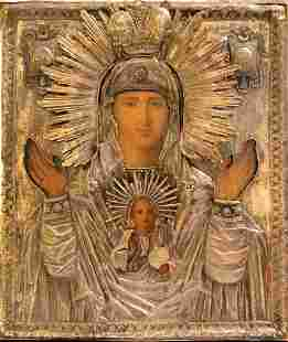 Russian icon «The mother of God of the Sign» in the