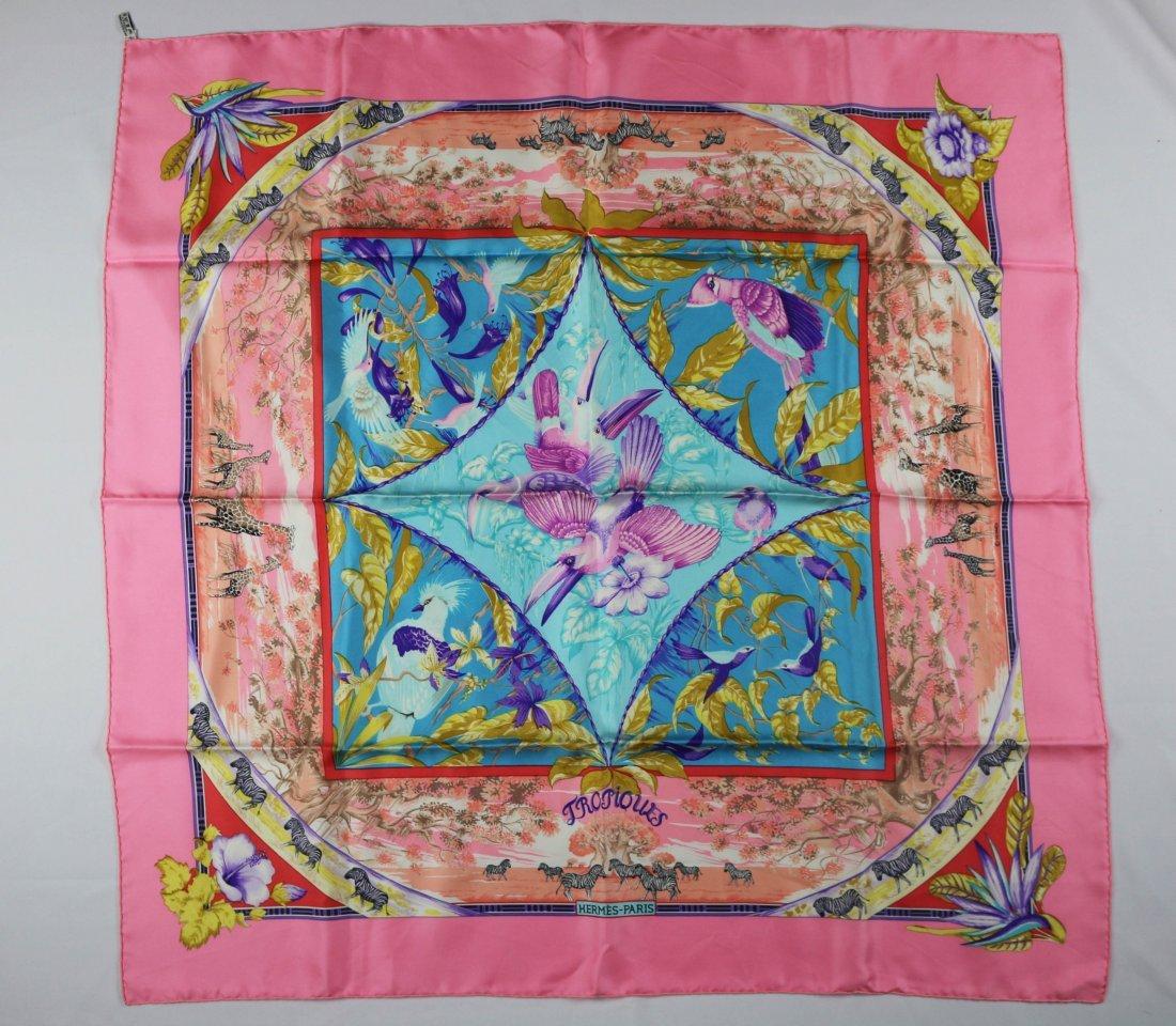 Hermes Vintage Silk Pink Tropiques Carre Foulard Scarf