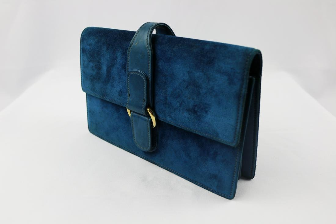 Blue Vintage Suede Gucci Clutch with Mirror and Coin