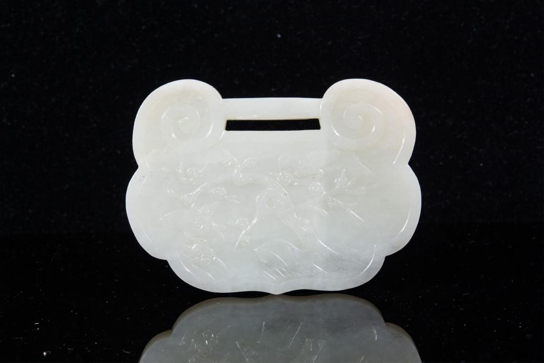 LARGE CHINESE WHITE JADE LOCK SHAPE PLAQUE