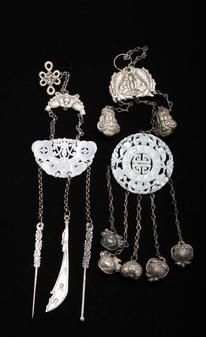 TWO CHINESE SILVER AND JADE ORNAMENTS