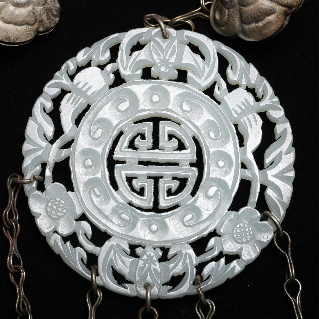 TWO CHINESE SILVER AND JADE ORNAMENTS - 2