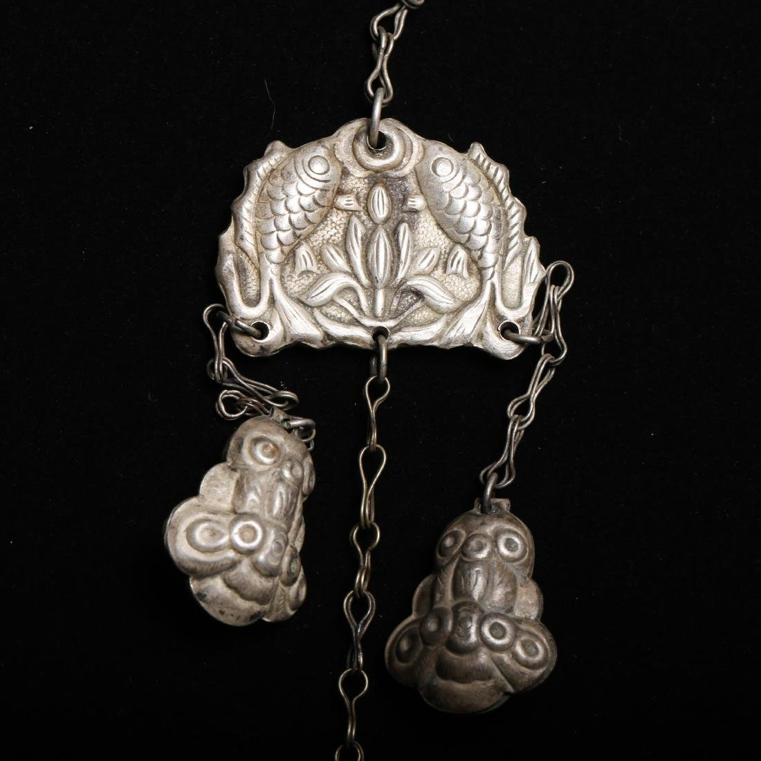 TWO CHINESE SILVER AND JADE ORNAMENTS - 5