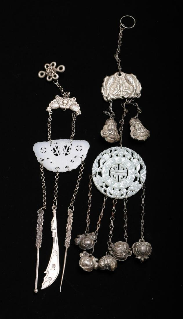 TWO CHINESE SILVER AND JADE ORNAMENTS - 6