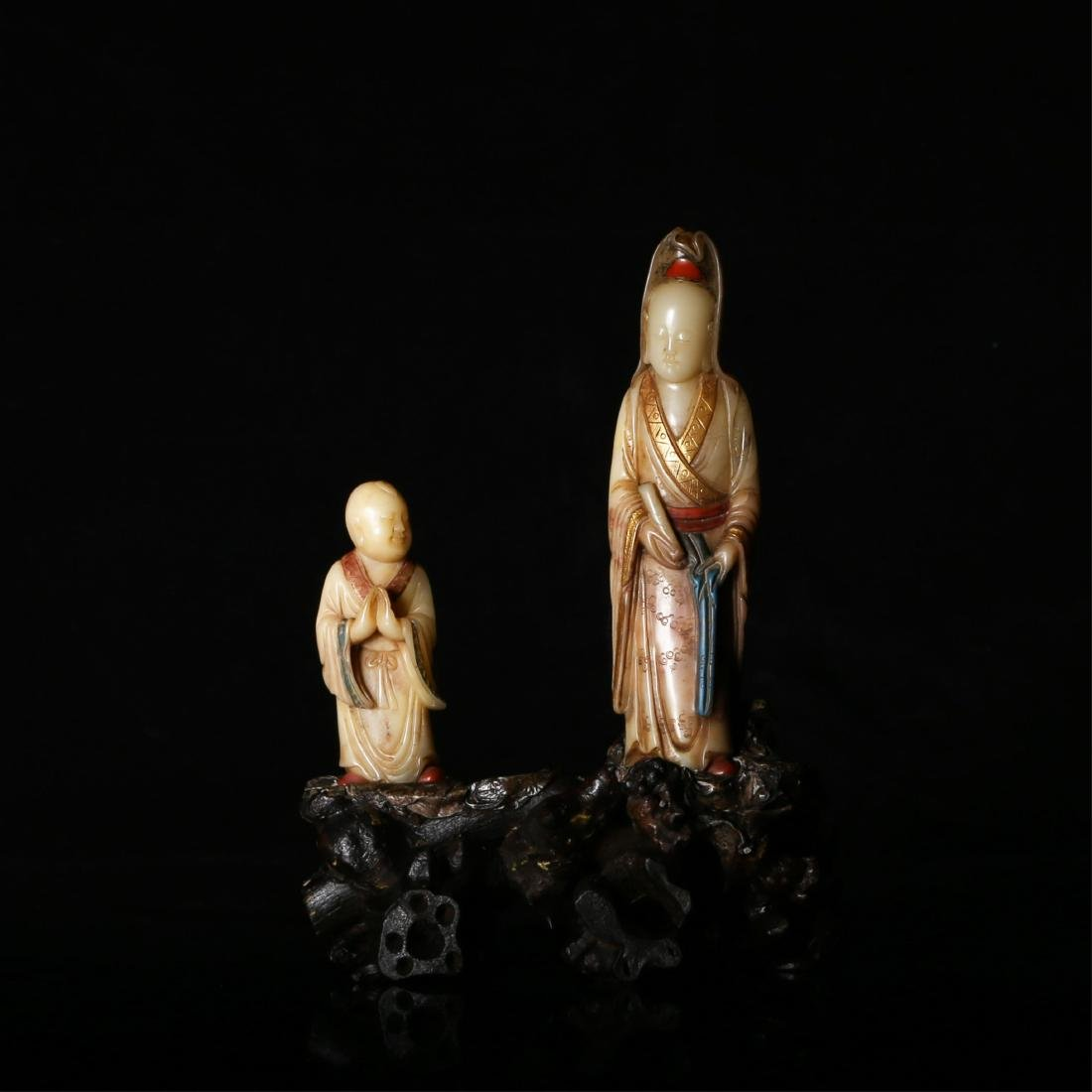 CHINESE SOAPSTONE CARVED IMMORTALS