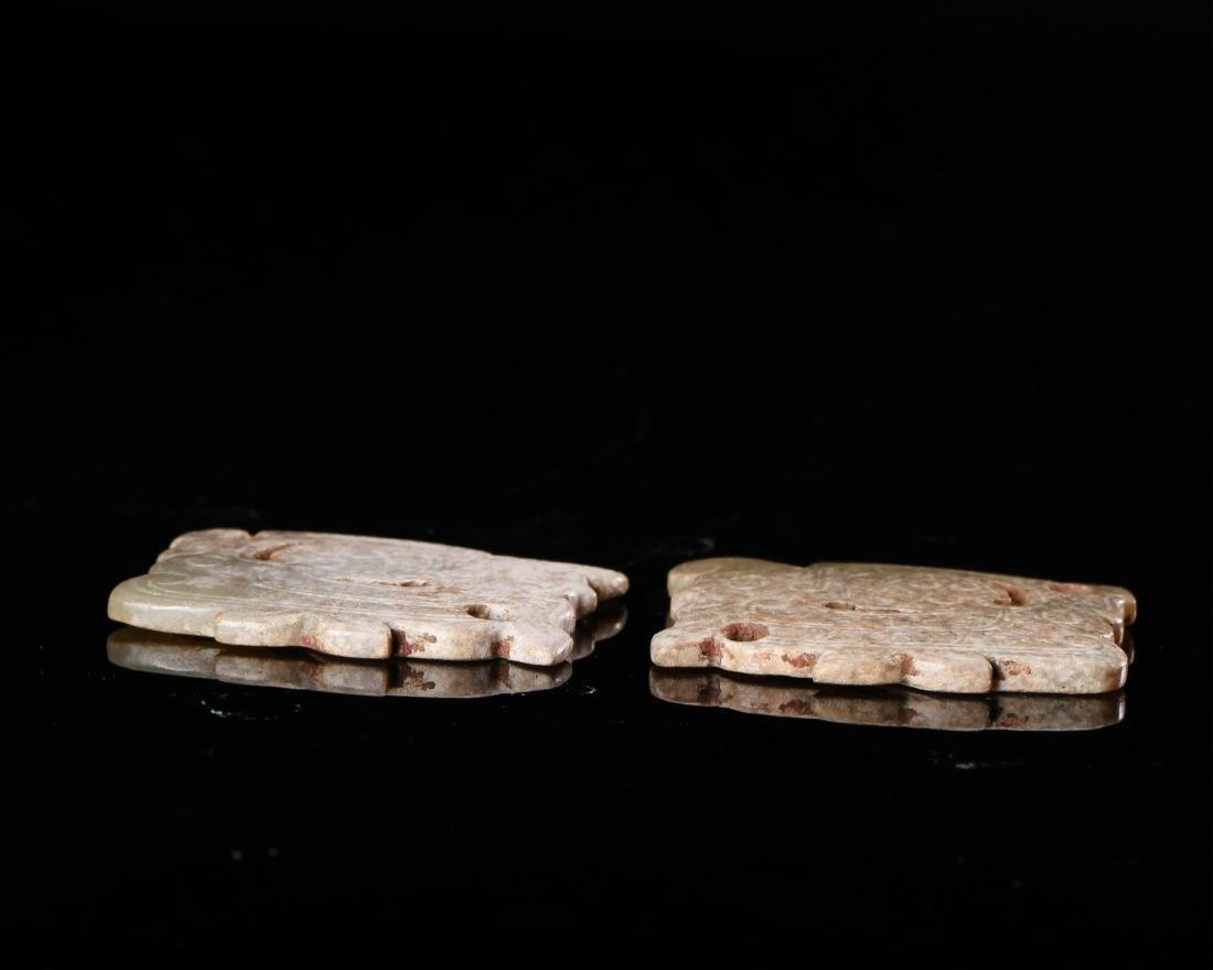 PAIR OF CHINESE JADE PENDANTS - 5