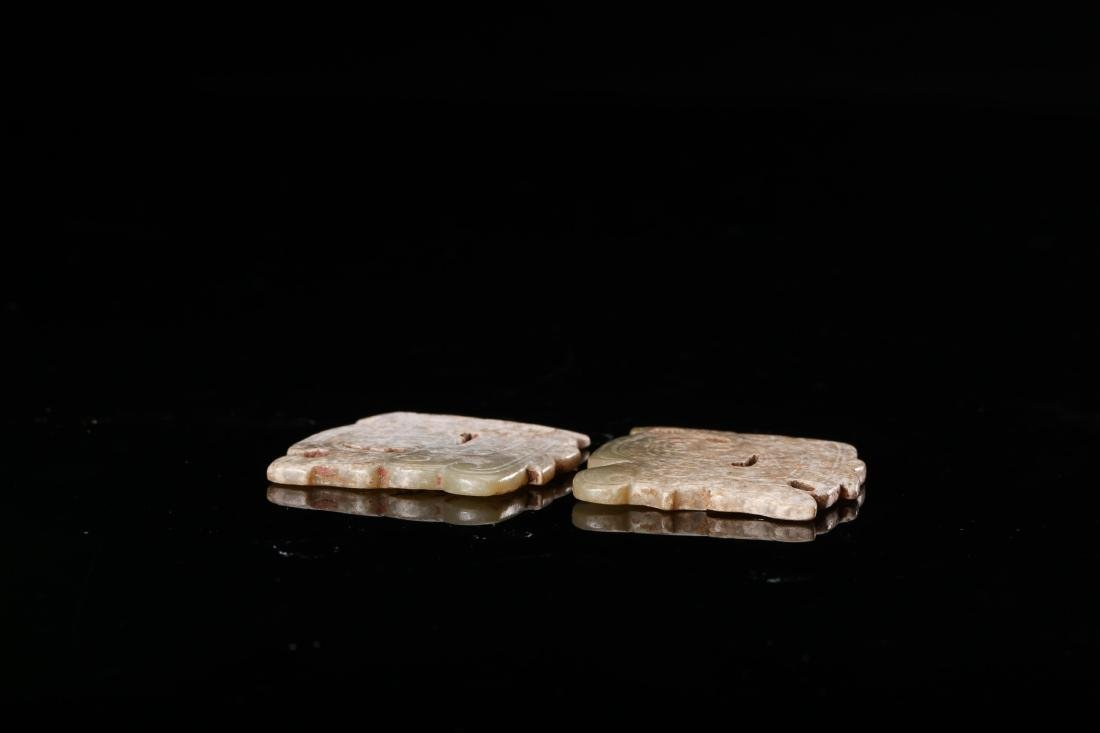 PAIR OF CHINESE JADE PENDANTS - 6