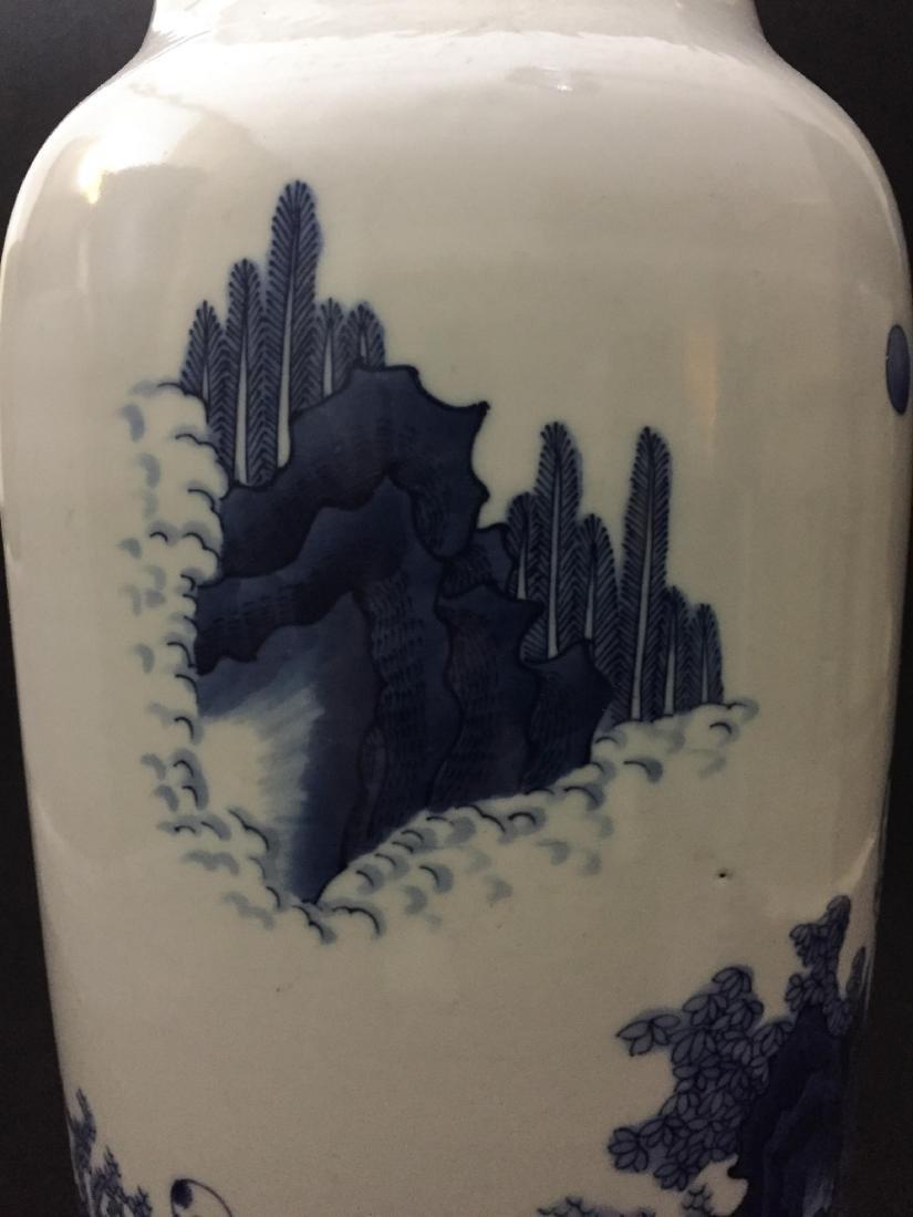 CHINESE BLUE AND WHITE SLEEVE VASE - 10