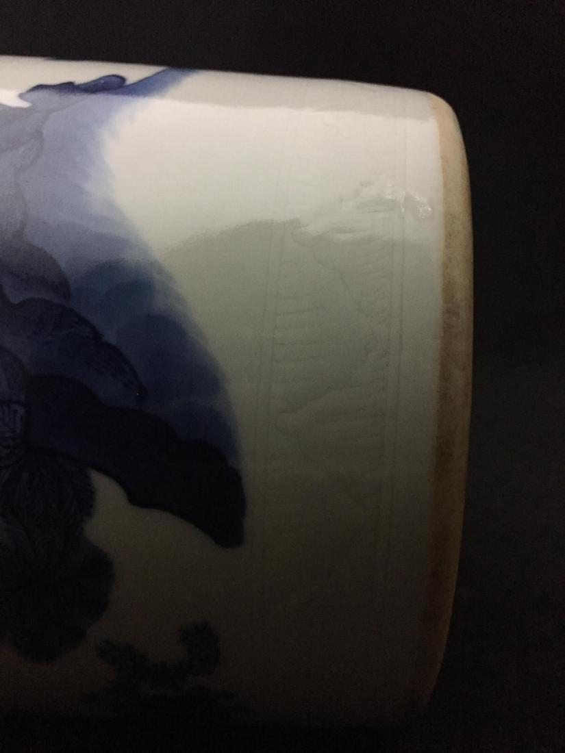 CHINESE BLUE AND WHITE SLEEVE VASE - 5