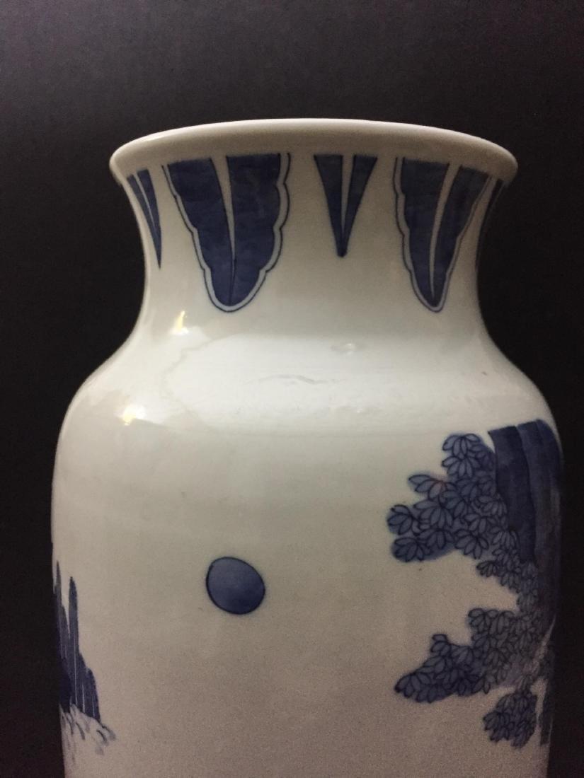 CHINESE BLUE AND WHITE SLEEVE VASE - 8