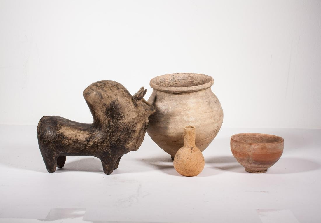 GROUP OF 4 ANCIENT POTTERY JAR