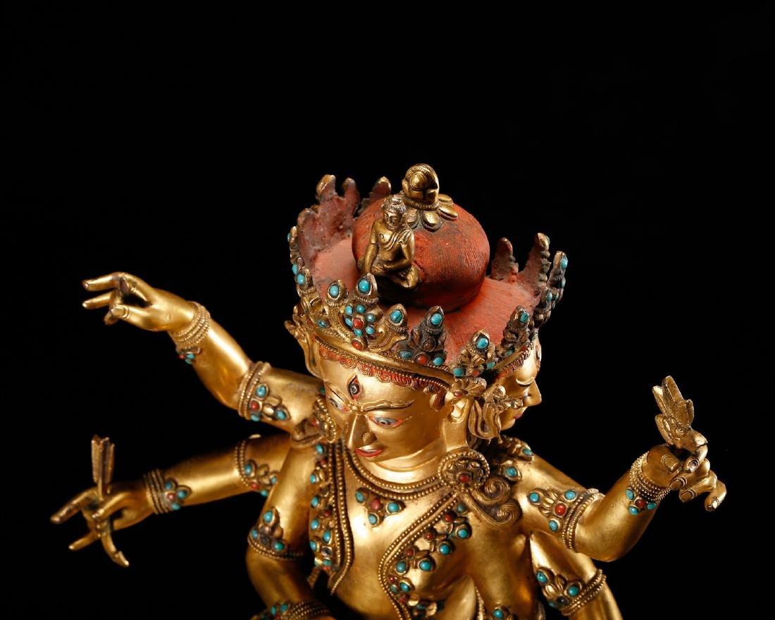 CHINESE GILT BRONZE BUDDHIST FIGURE - 9
