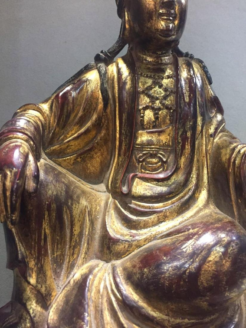 CHINESE GILT LACQUER WOODEN GUANYIN - 2