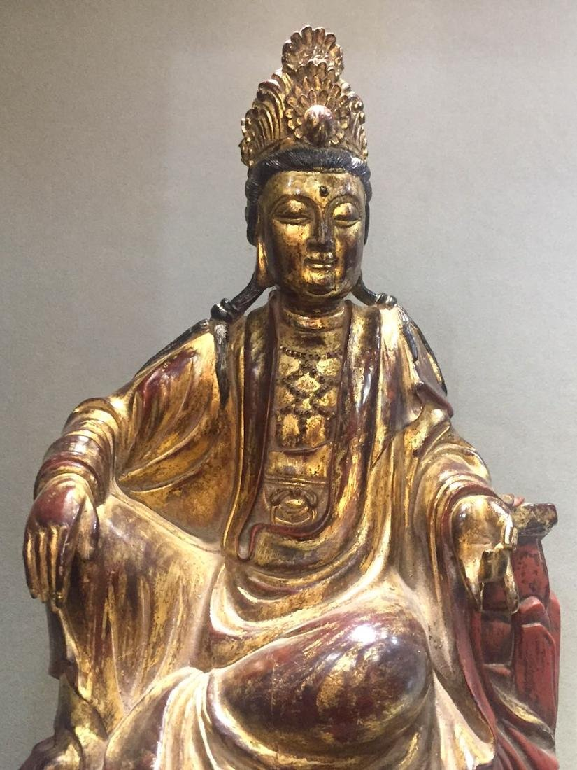 CHINESE GILT LACQUER WOODEN GUANYIN - 5