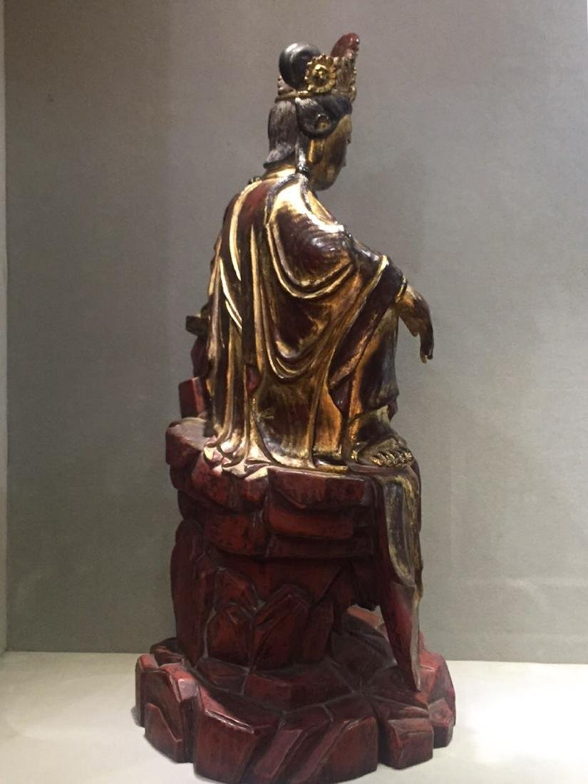 CHINESE GILT LACQUER WOODEN GUANYIN - 6