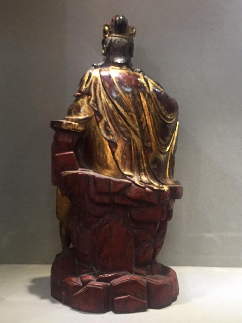 CHINESE GILT LACQUER WOODEN GUANYIN - 7