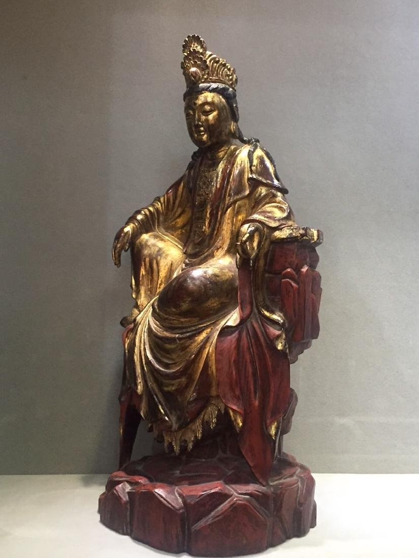 CHINESE GILT LACQUER WOODEN GUANYIN - 8