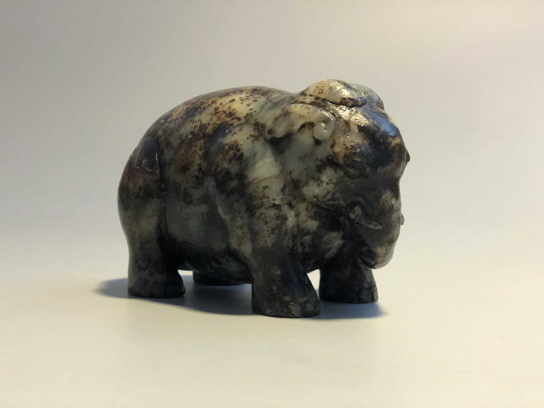 CHINESE JADE STONE FIGURE OF ELEPHANT - 4