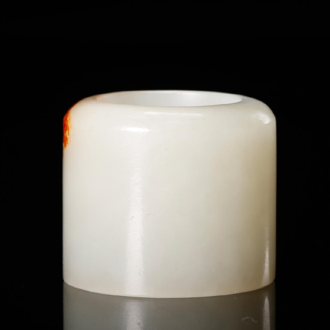 CHINESE WHITE JADE THUMB RING - 2
