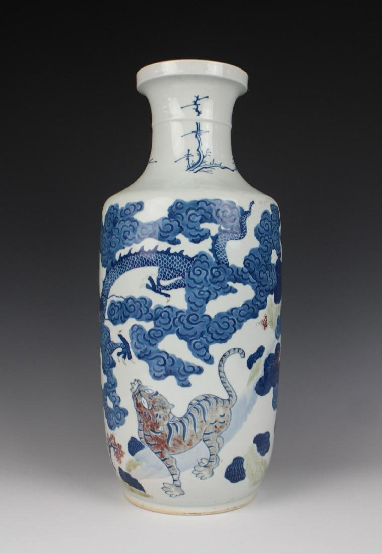 CHINESE BLUE AND WHITE IRON RED VASE