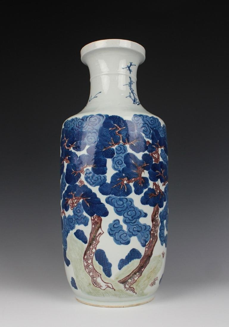 CHINESE BLUE AND WHITE IRON RED VASE - 3