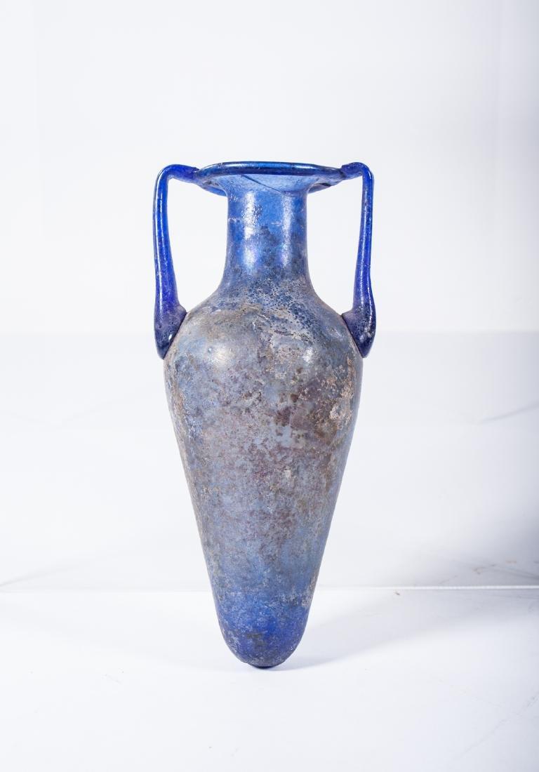 ANCIENT ROMAN GLASS AMPHORA