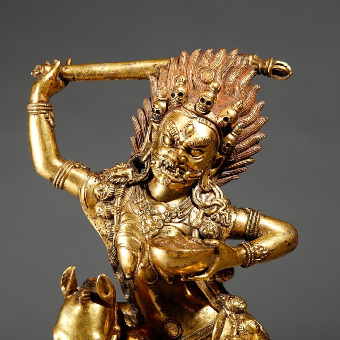 CHINESE  SINO TIBETAN GILT BRASS FIGURE OF - 2