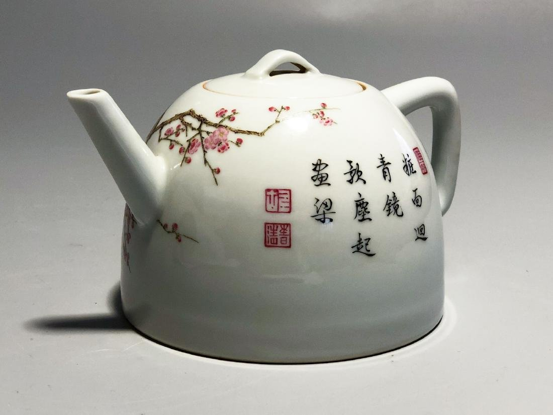 CHINESE FAMILLE ROSE PORCELAIN TEA POT - 2