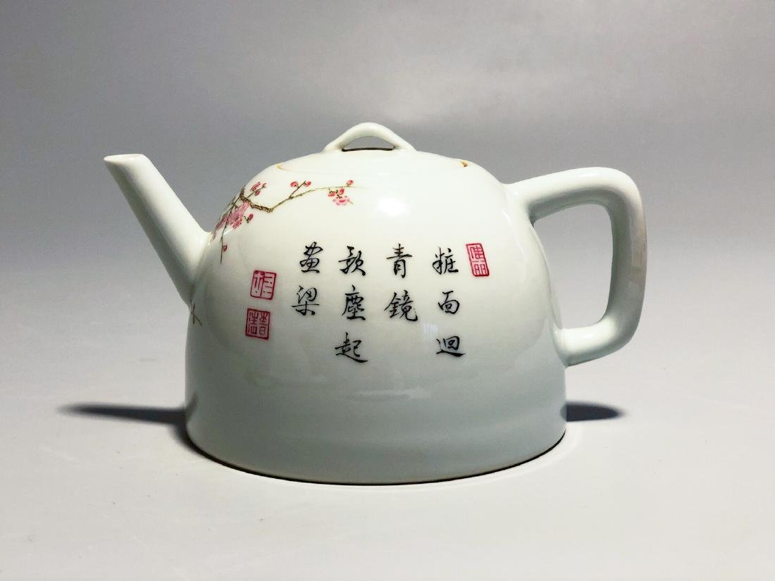 CHINESE FAMILLE ROSE PORCELAIN TEA POT - 3