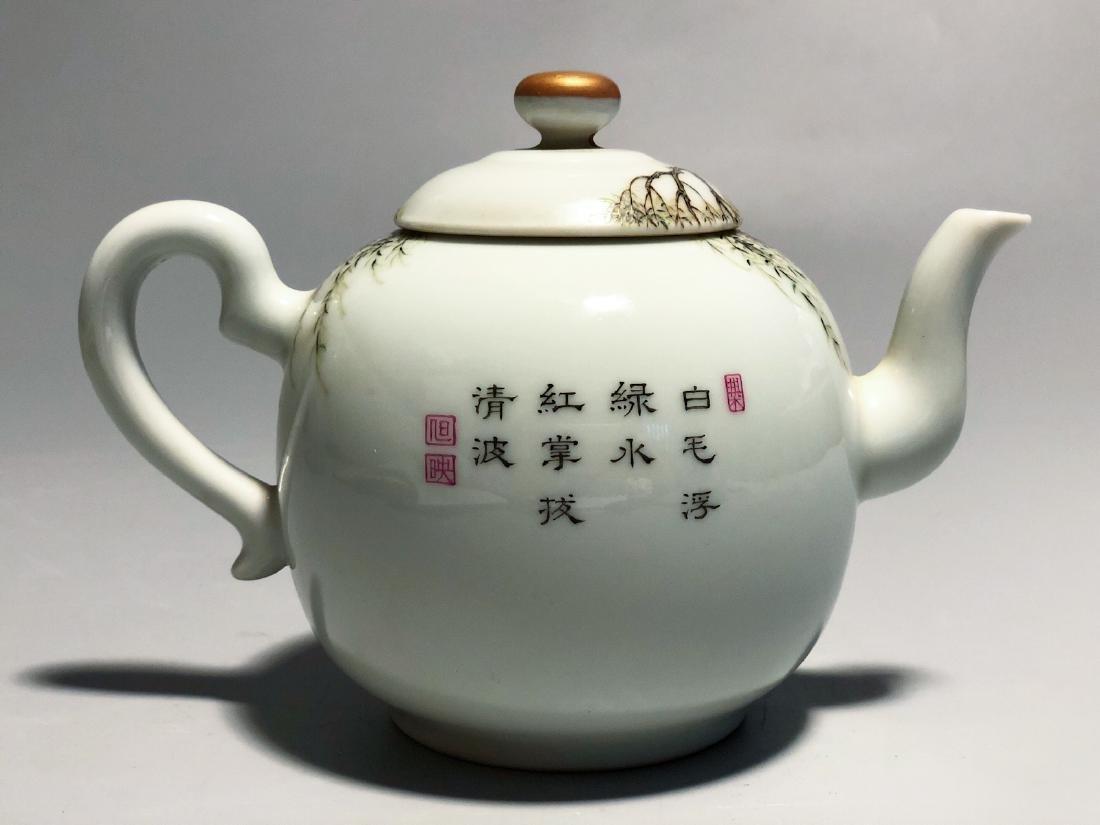 CHINESE FAMILLE ROSE PORCELAIN TEA POT - 2