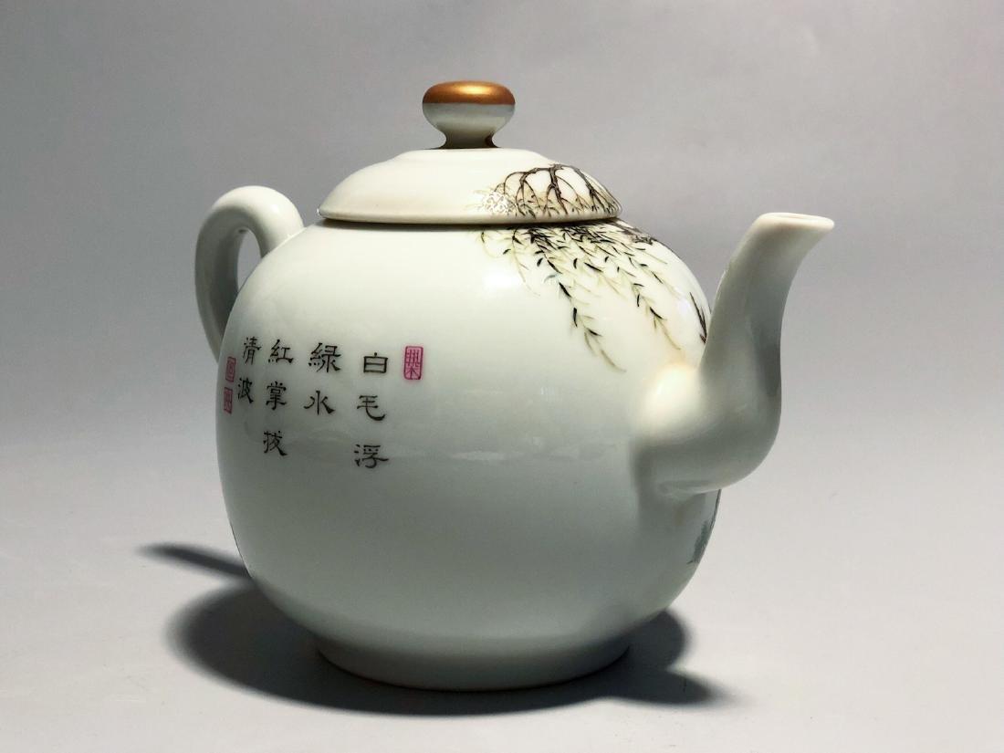 CHINESE FAMILLE ROSE PORCELAIN TEA POT - 3