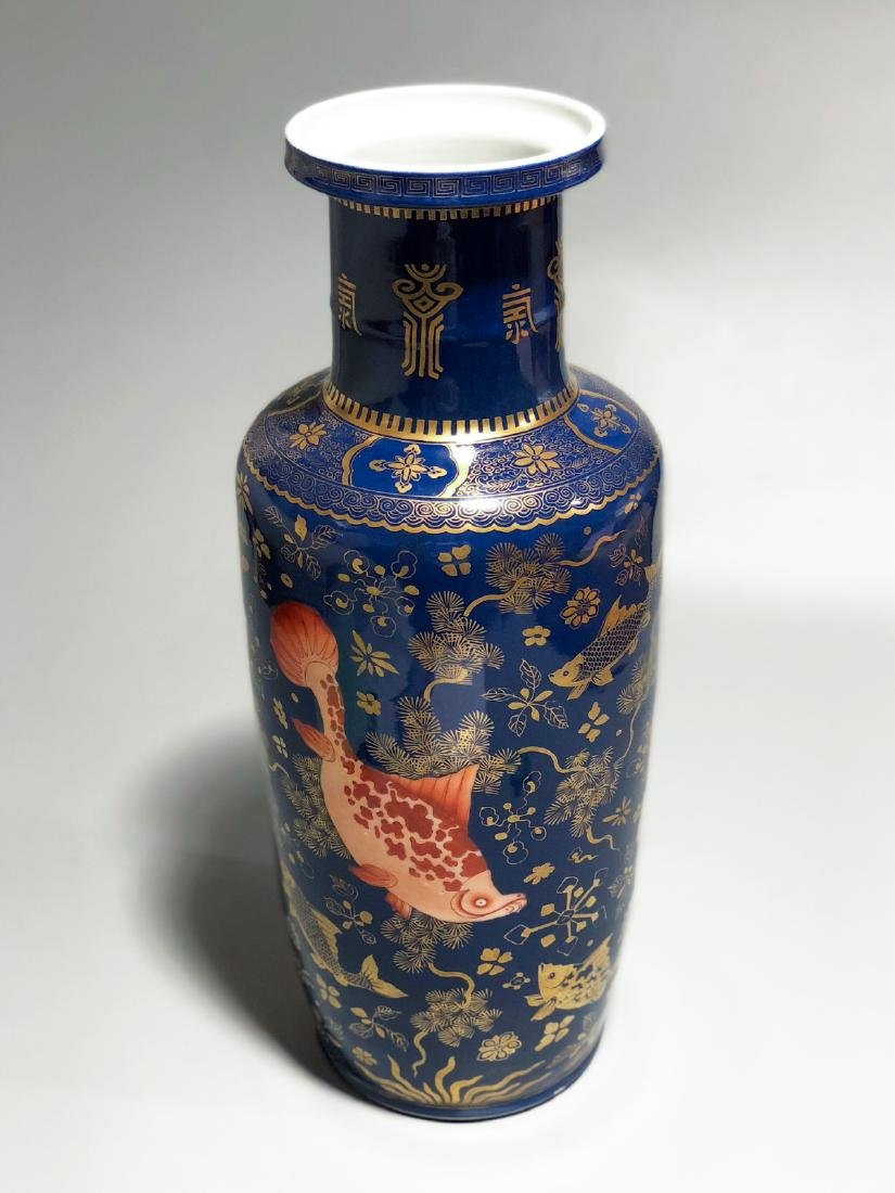 CHINESE GILT BLUE GROUND ROULEAU VASE - 3