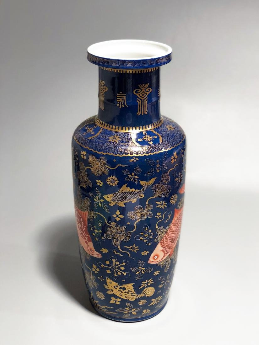 CHINESE GILT BLUE GROUND ROULEAU VASE - 4