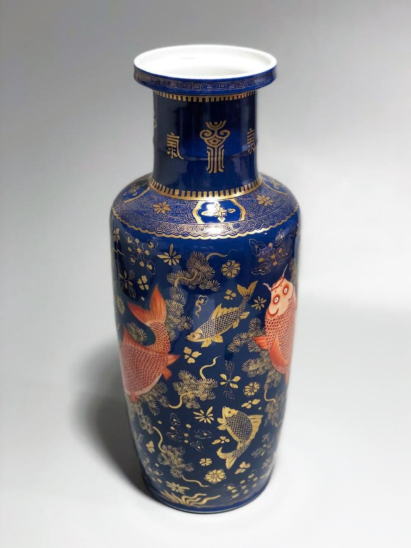 CHINESE GILT BLUE GROUND ROULEAU VASE - 5