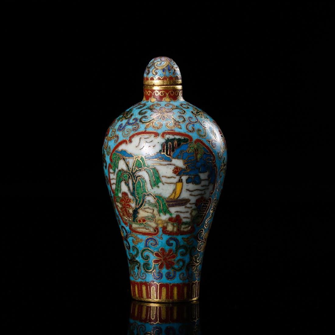 CHINESE CLOISONNE SNUFF BOTTLE - 2