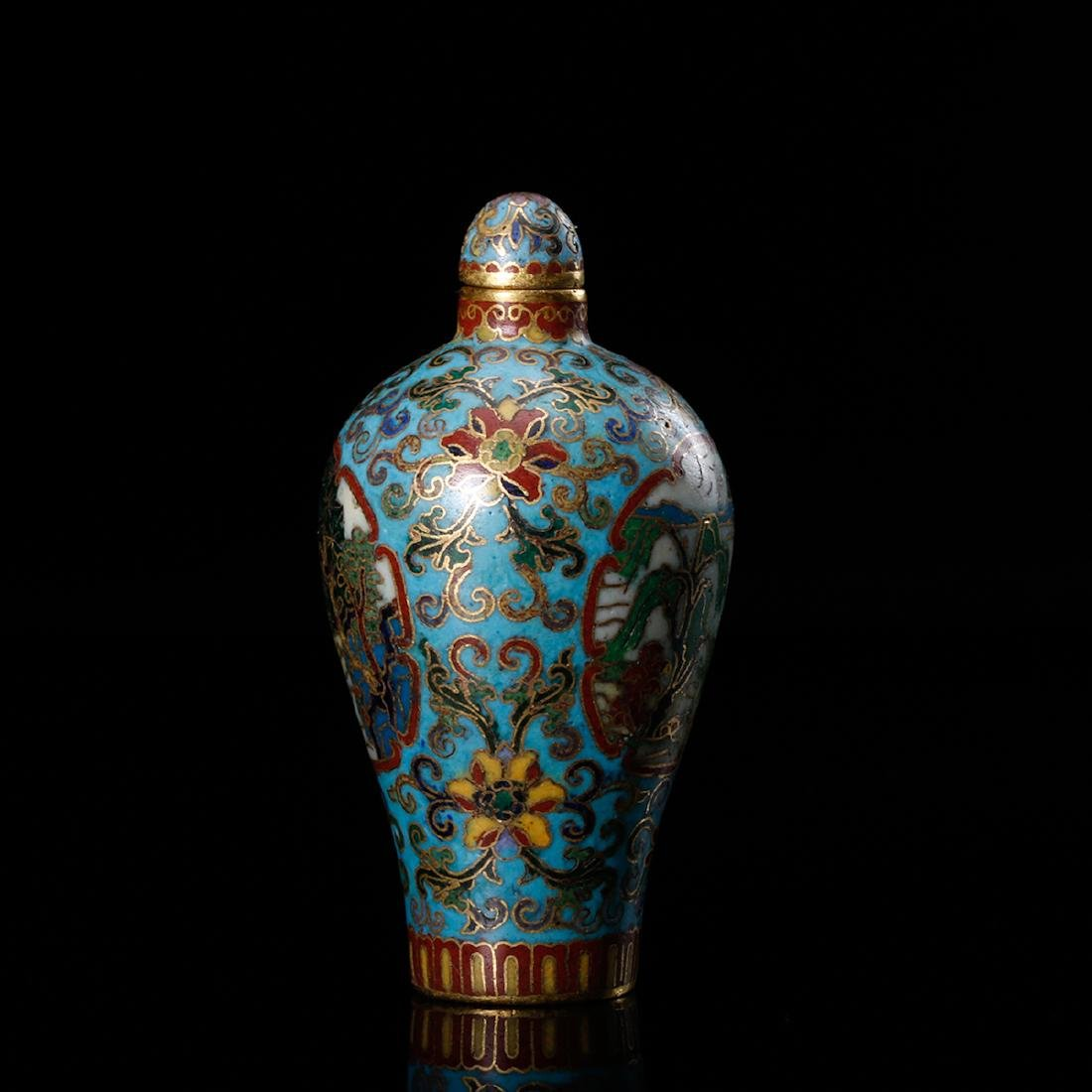 CHINESE CLOISONNE SNUFF BOTTLE - 3