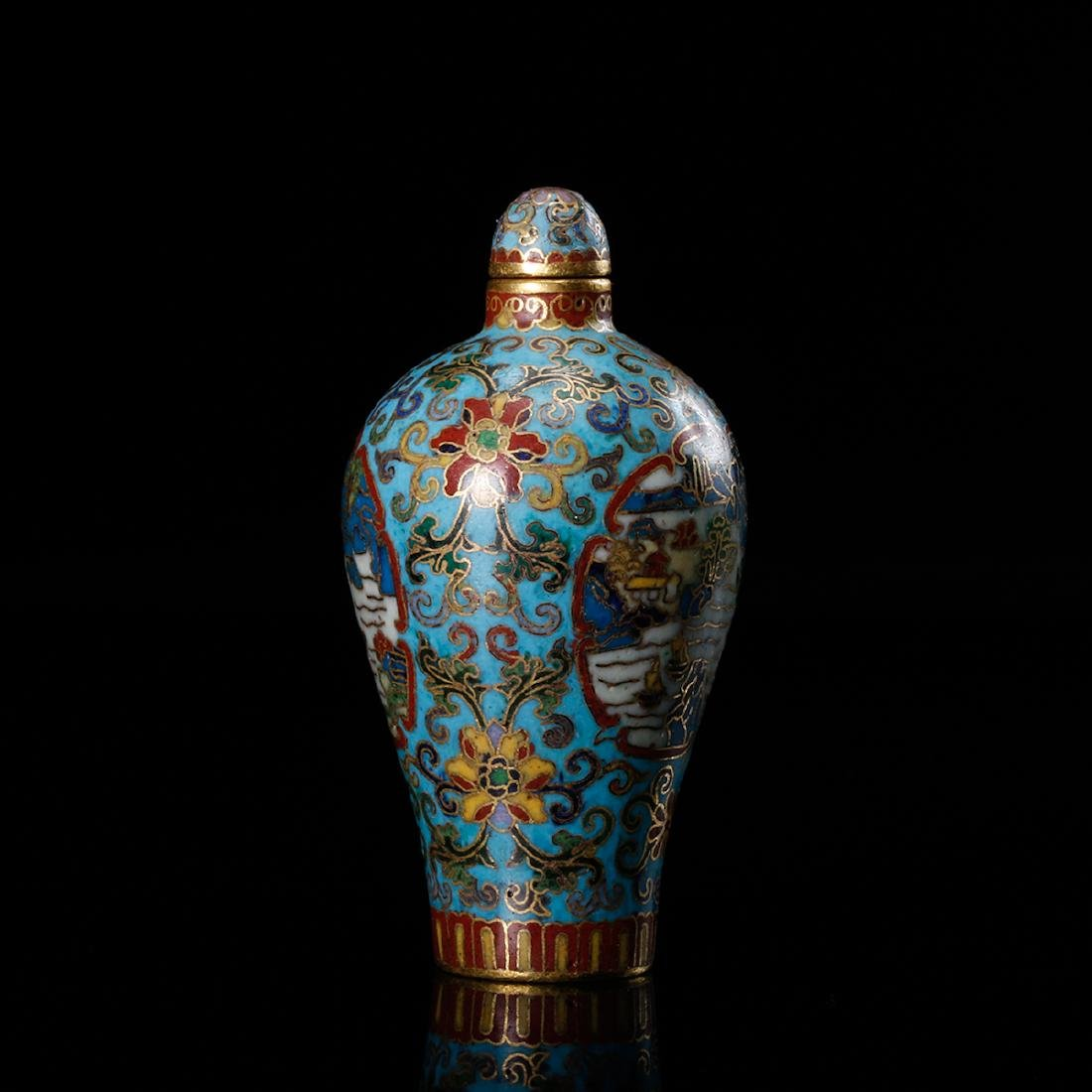 CHINESE CLOISONNE SNUFF BOTTLE - 4