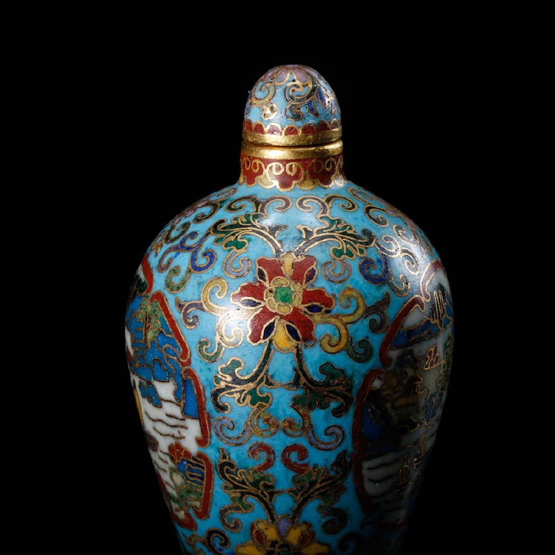 CHINESE CLOISONNE SNUFF BOTTLE - 9