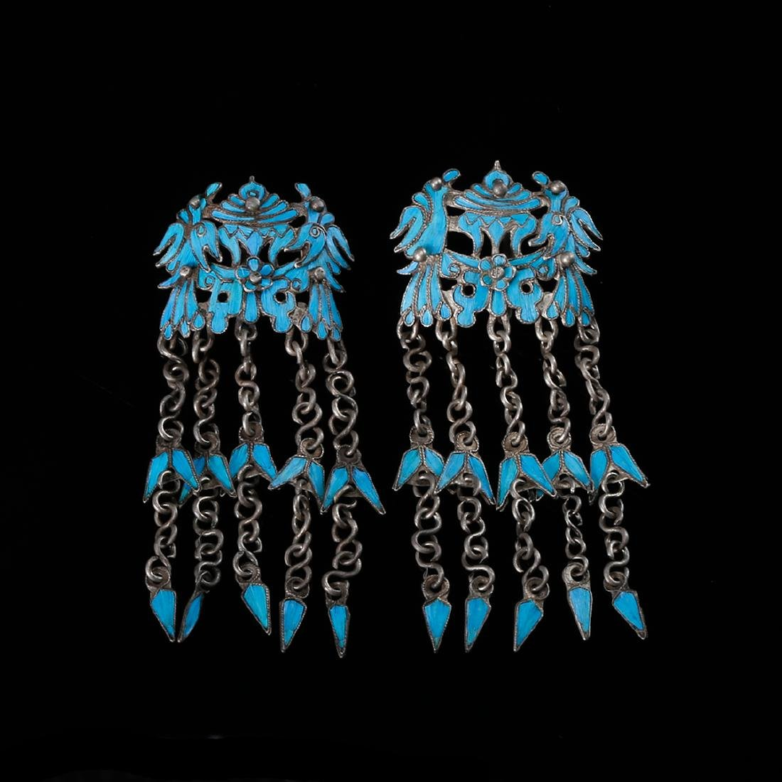 CHINESE KINGFISHER FEATHER ON SILVER EARRINGS