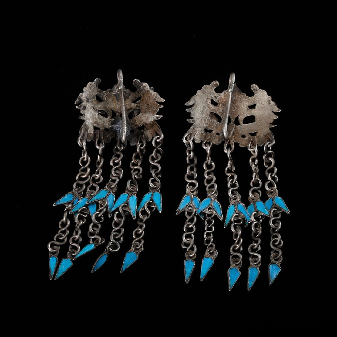 CHINESE KINGFISHER FEATHER ON SILVER EARRINGS - 2