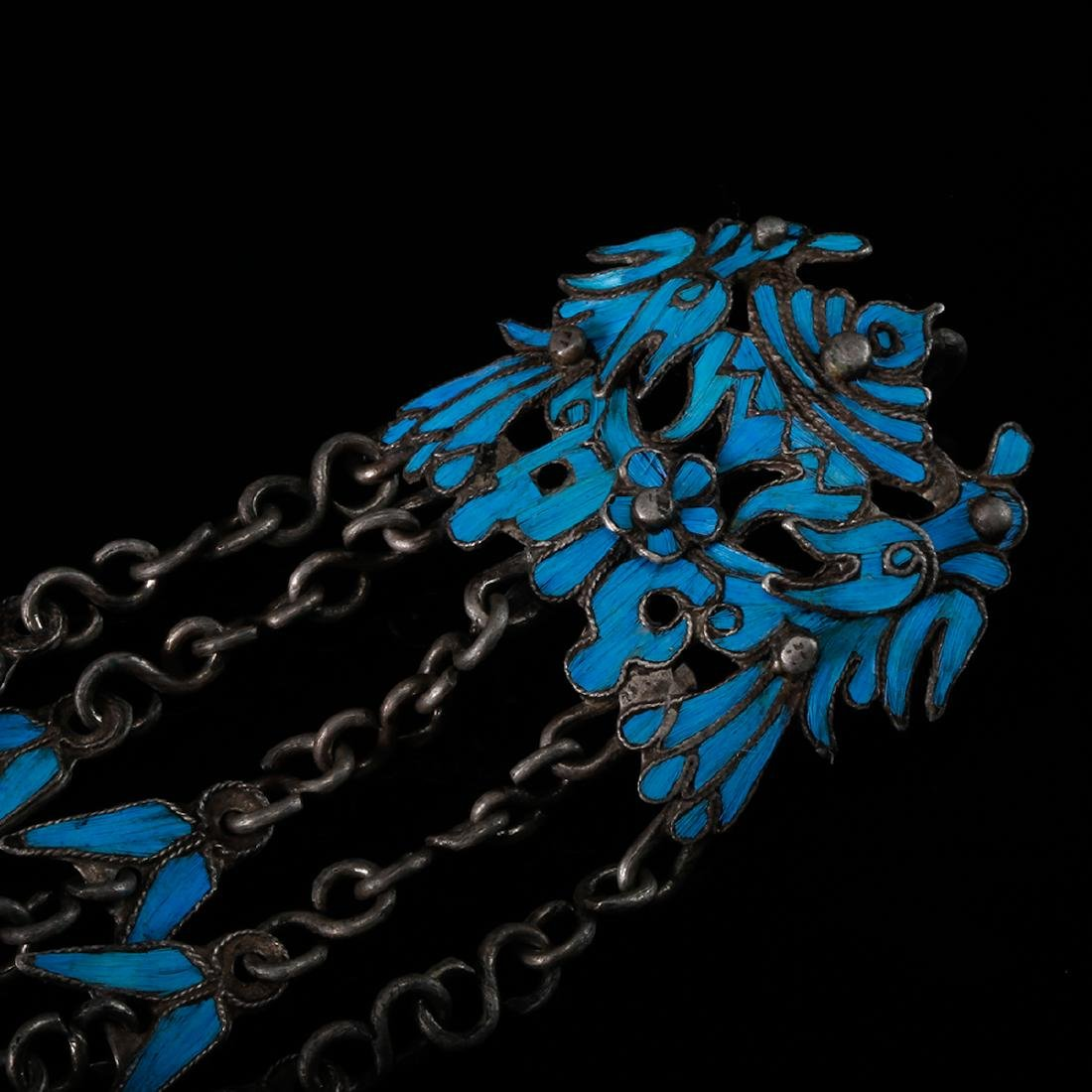 CHINESE KINGFISHER FEATHER ON SILVER EARRINGS - 5