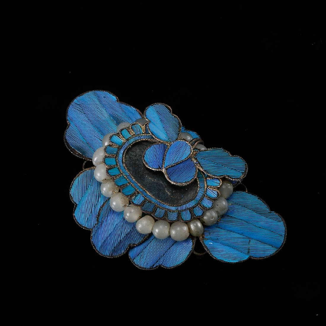 CHINESE KINGFISHER FEATHER ON SILVER HAIRPIN